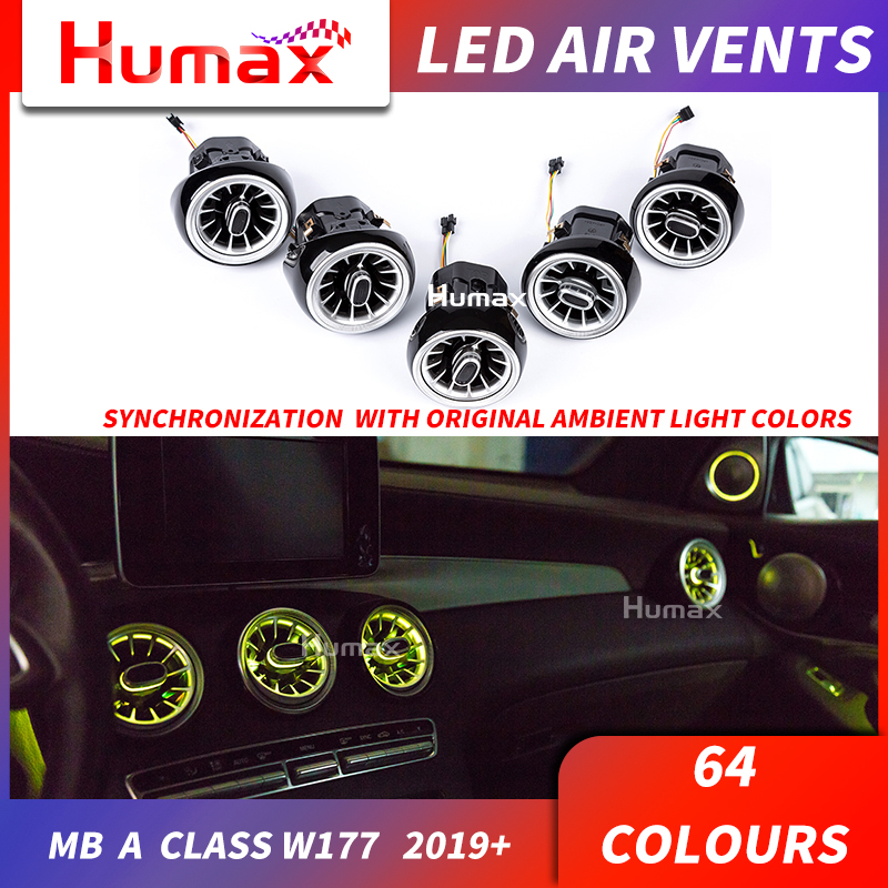 For A class W177 A200 A250 LED turbine air vent LED air condition vent synchronized with ambient light W177 air vent 64 colors