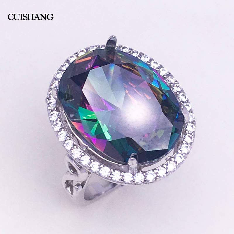 CSJ Rainbow Mystic Color Stone Rings Fine Jewelry 925 Sterling Silver Jewelry Wedding Bands for Women Femme GiftCSJ Rainbow Mystic Color Stone Rings Fine Jewelry 925 Sterling Silver Jewelry Wedding Bands for Women Femme Gift