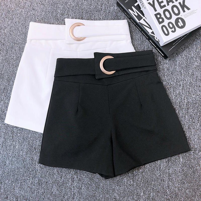 Fashion Women High Waist Shorts Slim Short Femme Spring Summer Shorts Elegant Black White Wide Leg Suit Shorts Hotpants C5360