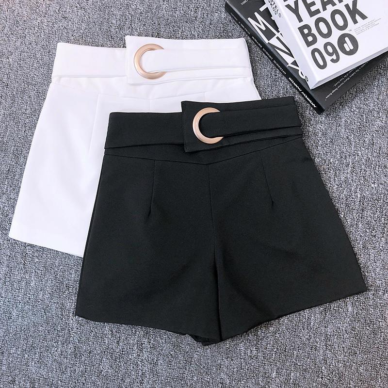 Fashion Women High Waist Shorts Slim Short Femme Spring Summer Shorts Elegant Black White Wide Leg Suit Shorts Hotpants C5360