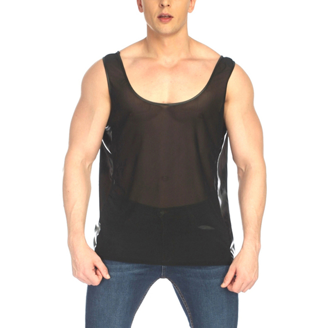 Men Undershirt Gay Fetish Lingerie Side Leather Splice Transparent Mesh See Through Shirt Seamless Underwear Male