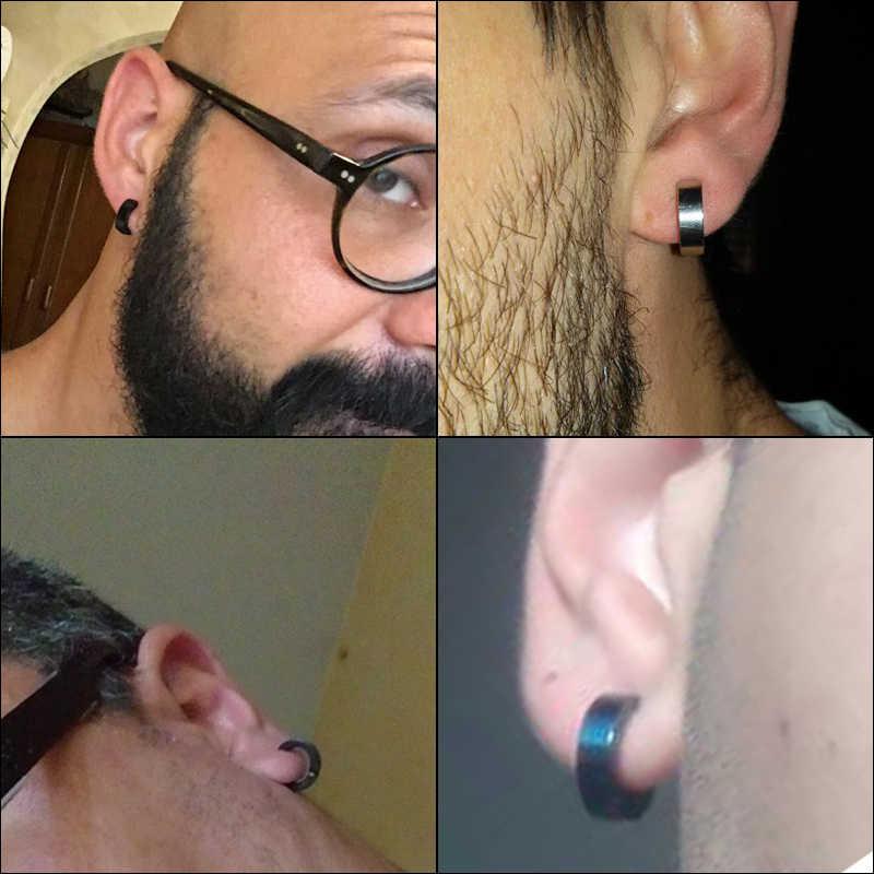 1 זוג פאנק נירוסטה שחור כסף צבע אוזן קליפ קאף נשים גברים מזויף פירסינג טבעות Finti Orecchio dilataciones falsas