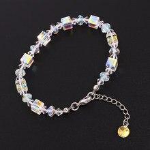 a39a4e817204 Perlas de moda pulsera de cadena brazalete de cristales de Swarovski de  Color plata Pulsera encanto pulsera de la joyería de man.