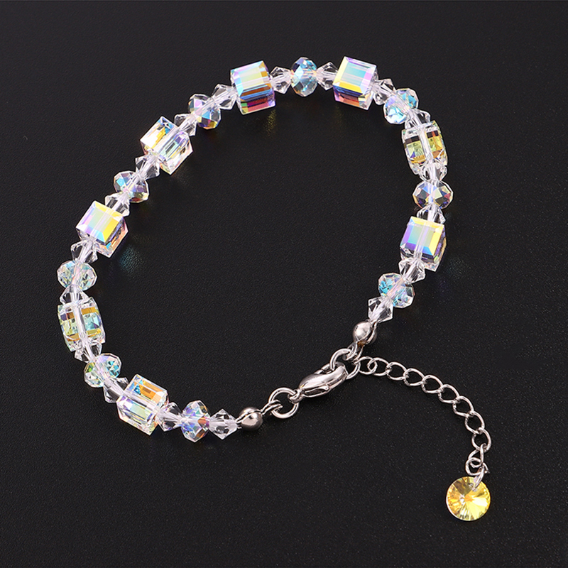 Fashion Beads Chain Bracelet Bangle Crystals From Swarovski Silver Color Bracelet Charm Hand Jewelry For Women Wedding Gifts