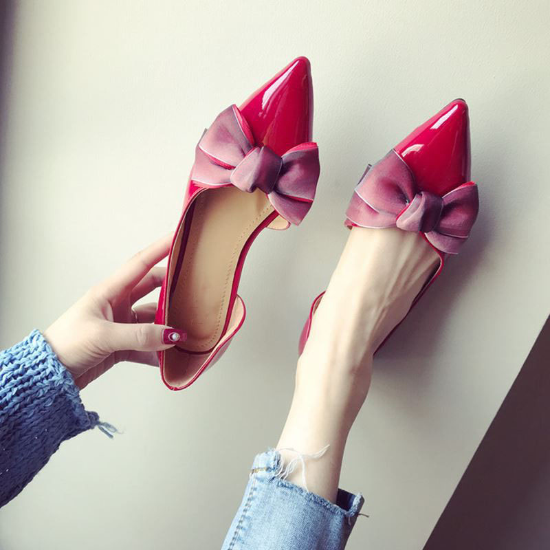 2018 New summer fashion women shoes casual flats Pointed Toe Bow-knot Shoes ladys shallow loafers Wedding Flat Shoes MA-57 2016 spring and summer pointed toe flat heel sweet bow shoes single shoes women fashion women s flat shoes