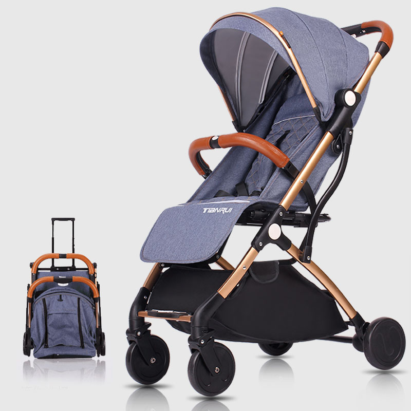 baby str High landscape children's trolley double-sided can be lying can be folded umbrella folding car four round German l cr80 crf125 150 250 450 230f falling short handle can be folded forging horn