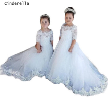 Cinderella Half Sleeves Boat Neck Lace Applique Tulle Flower Girls Dresses With Covered Button Back Little Girl Party Gowns