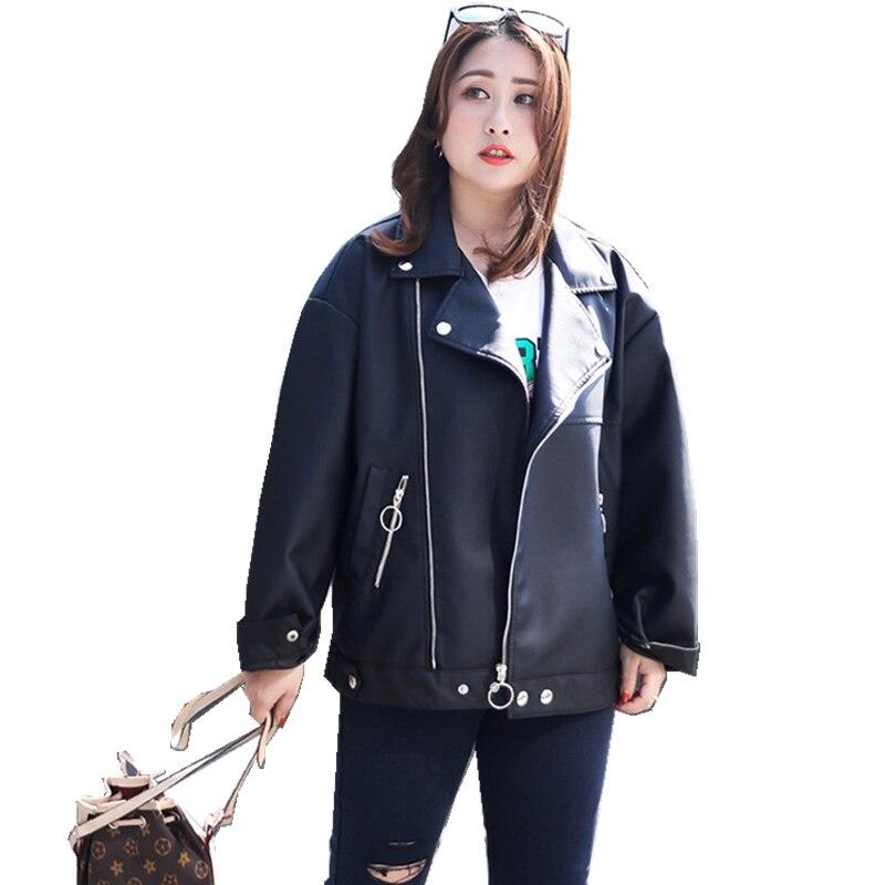 2019 Spring New Moto Biker Coat Women PU Turn-Down Collar Fashion Elegant Short Black Jackets Women Plus Size Ladies Outerwear