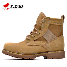 New Z. Suo Brand Classic Style Men's Hiking Shoes Top Quality Army Boots High Top Cow Suede + Canvas Desert Boots