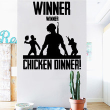 Hot PUGB Winner Chicken Dinner Wall Sticker Playroom Home Decoration Kids Boys Teen Games Ornament Decals Decor LY1364