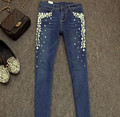 Heavy stones European fashion diamond pearl jeans, pencil pants feet pants large size was thin