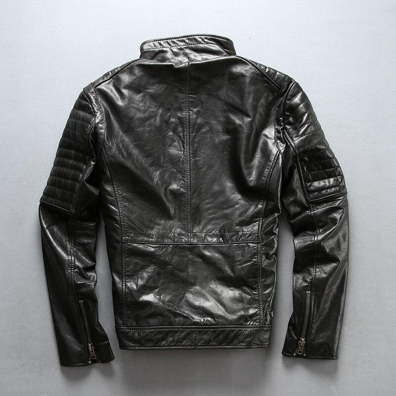A1777 lire la Description! Taille asiatique super qualité hommes véritable cuir de vache cavalier manteau cuir de vachette élégant cavalier veste - 3