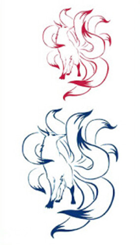Waterproof Temporary Fake Tattoo Stickers Cute Blue Red Nine Tail