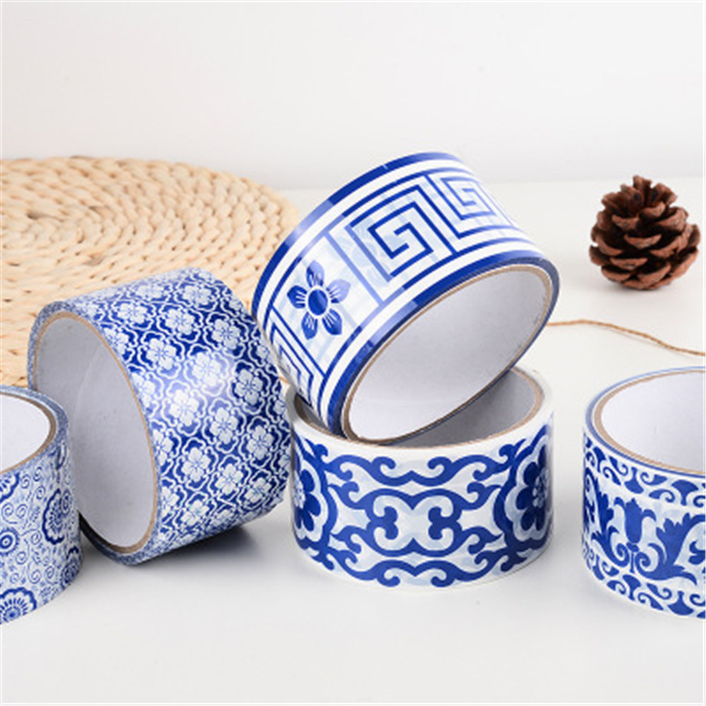 Blue White Porcelain Texture Self Adhesive Washi Tape DIY Label Stickers Chinese