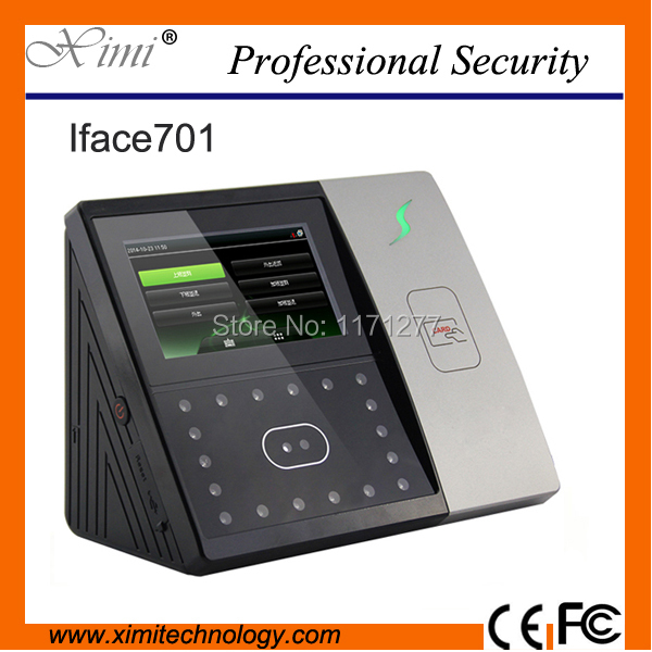 Standalone 4.3TFT touch screen rfid card reader TCP/IP camera ZK Iface701 face access control and time attendance machine