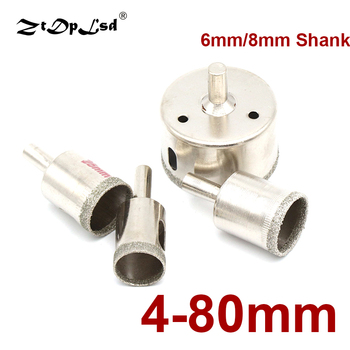 6/8mm Shank 4mm-80mm Diamond Coated Drill Bit Set Tile Marble Glass Ceramic Hole Saw Drilling Bits For Power Core Tiles Holesaw image