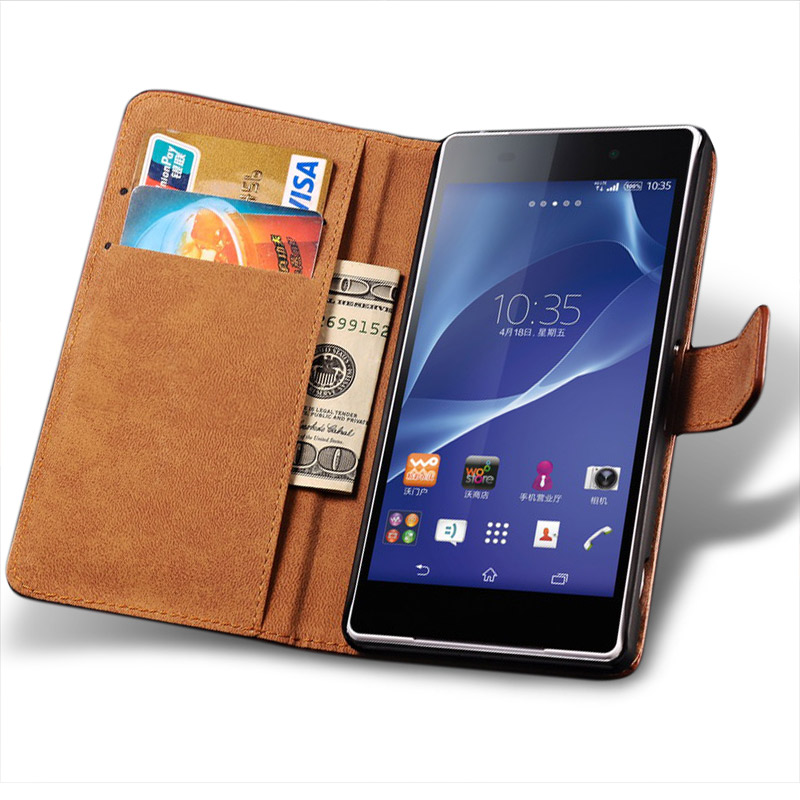 Leather Case For Sony Xperia Z Z1 Z2 Z3 Z4 Z5 Compact Premium M2 M5 M4