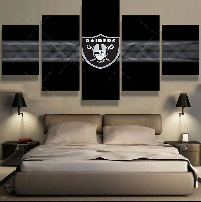 5 Panel Nfl Oakland Raiders Sports Deco Fans Poster Oil Painting On Canvas Modern Home Pictures Prints Decor Living Room Bedroom