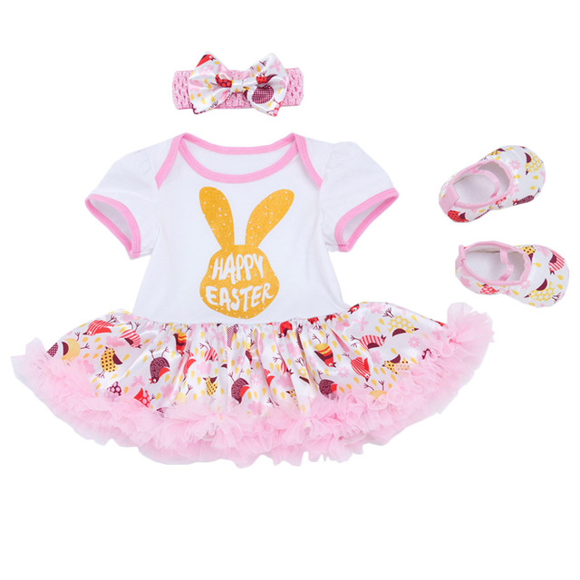 87aa6bccc Newborn Easter Clothes Baby Girls Clothing My First Easter Festival Baby's  Sets Ruffles Tutu Dress+Headband+Shoes Baby Clothing