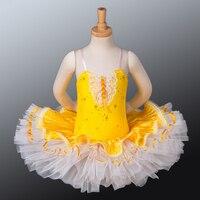 Con Màu Vàng Ba Lê Tutus Sequin Giai Đoạn Mặc Trẻ Em Chuyên Nghiệp Tutu Váy theo Nhóm Học Trang Phục Múa 10 Năm Cô Gái ClothesCB1040