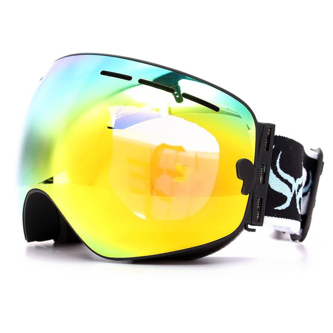 Ski goggles double layer anti-fog eyes black frame