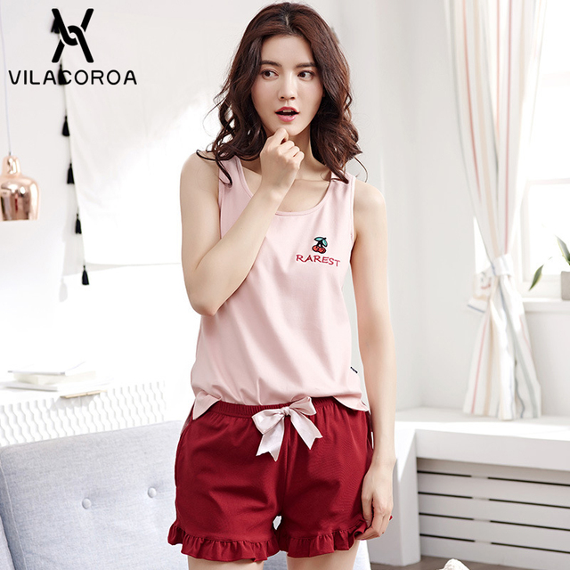 ada550a01dc2 Summer Women Pajamas Set Pink Sleeveless Round Neck Top Embroidery Cherry  Letters Dark Red Bow Front Shorts Cute Pajama Set