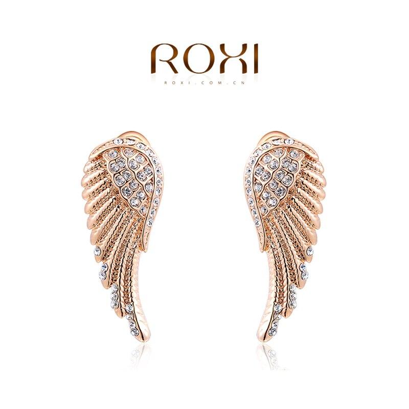 61ce905b8460c ROXI Brand Brincos Earring For Women Fashion Jewelry Rose Gold Color Angel  Wings Ear Stud Earrings Party Wedding oorbellen