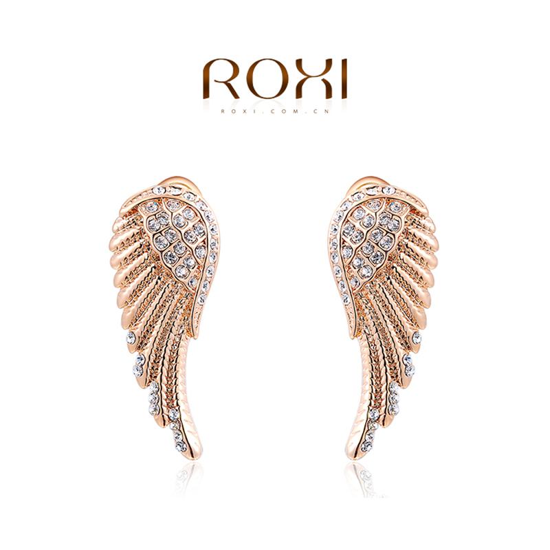 ROXI Brand Earring For Women Women Fashion Jewelry Rose Gold Color Angel Wings Ear Earrings Womens Party Wedding New Year Gift