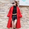 Новый женский Шерстяное Пальто Осень 2016 Зимняя Мода Элегантный Свободные Сплошной Цвет отложным Воротником Длинные Шерстяные Пальто плюс Размер Женщина