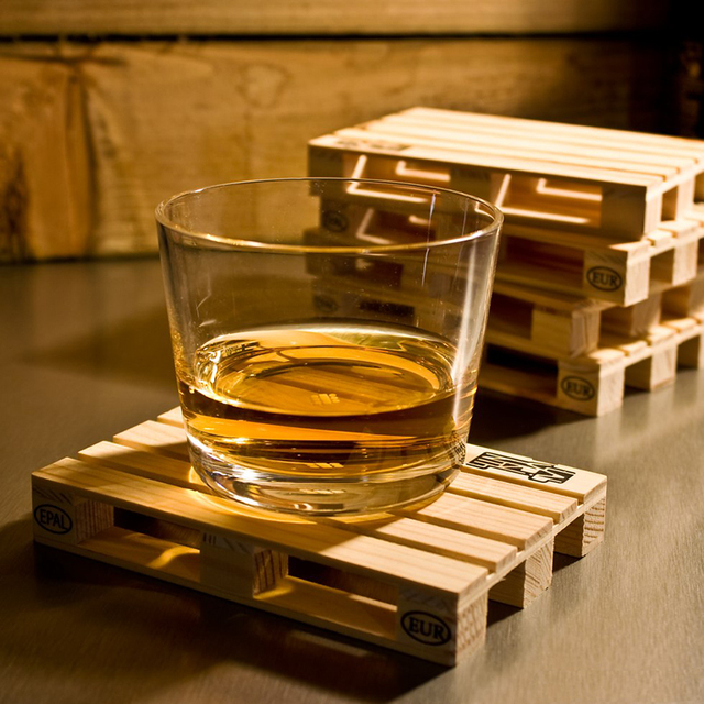 Set Of 4 Miniature Pallet Wood Beverage Coasters Drink Wine Gles Beer Bottle Whiskey Gl Cup