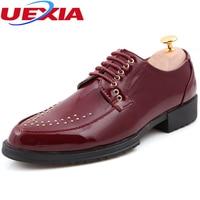 Leather Men Shoes Brogues Lace Up Bullock Rivets Business Oxfords Shoes Men Dress Shoes Handmade Wedding