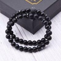 2pc/sets8mm Natural stone Bracelet men Micro Pave CZ 10mm Disco Ball Charms Bracelets for women Men jewelry viking bijoux 4