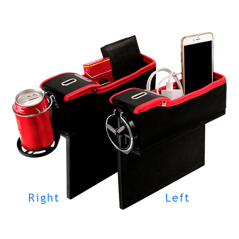 Coins Cards Car Console Side Pocket Seat Crevice Storage Box PU Leather Car Gap Filler for Mobile Phones pentagon Car Seat Side Organiser box Keys Wallets