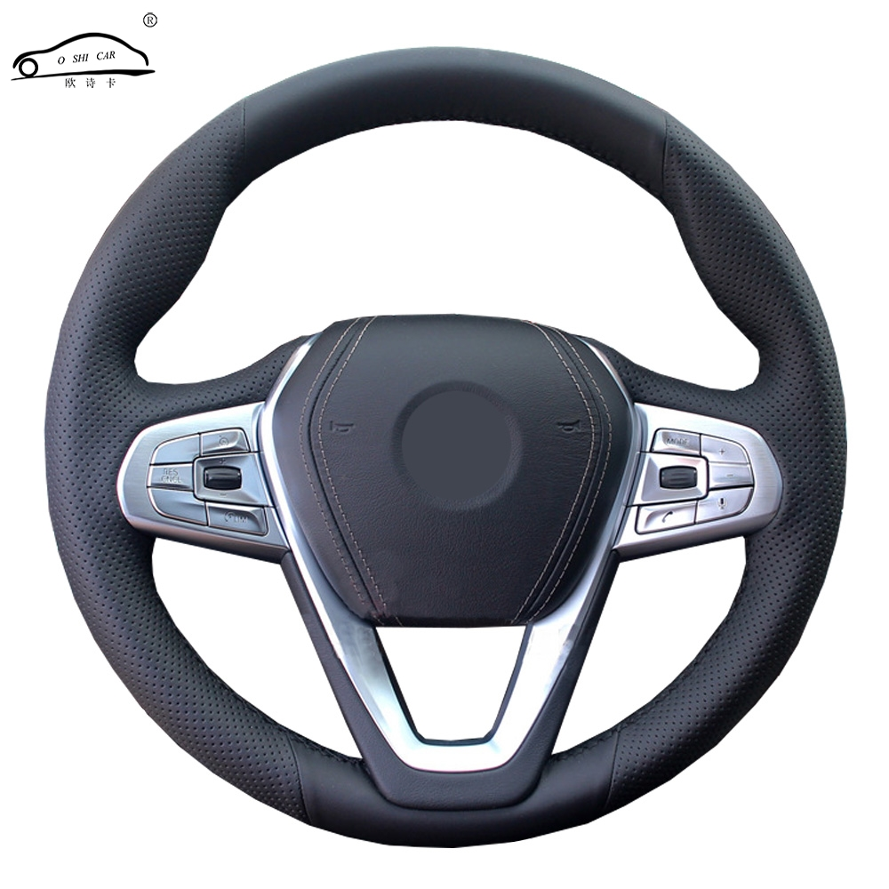 Steering wheel cover for <font><b>BMW</b></font> <font><b>G30</b></font> <font><b>530i</b></font> 540i 520d 530e 2016-2018 G32 GT 630i 630d 2017-2018/Custom made Steering wheel cover image