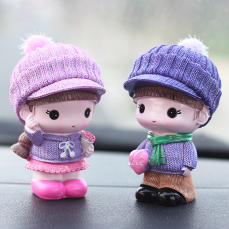 2PCS Creative Resin Cute Doll Car Ornaments Car Acc