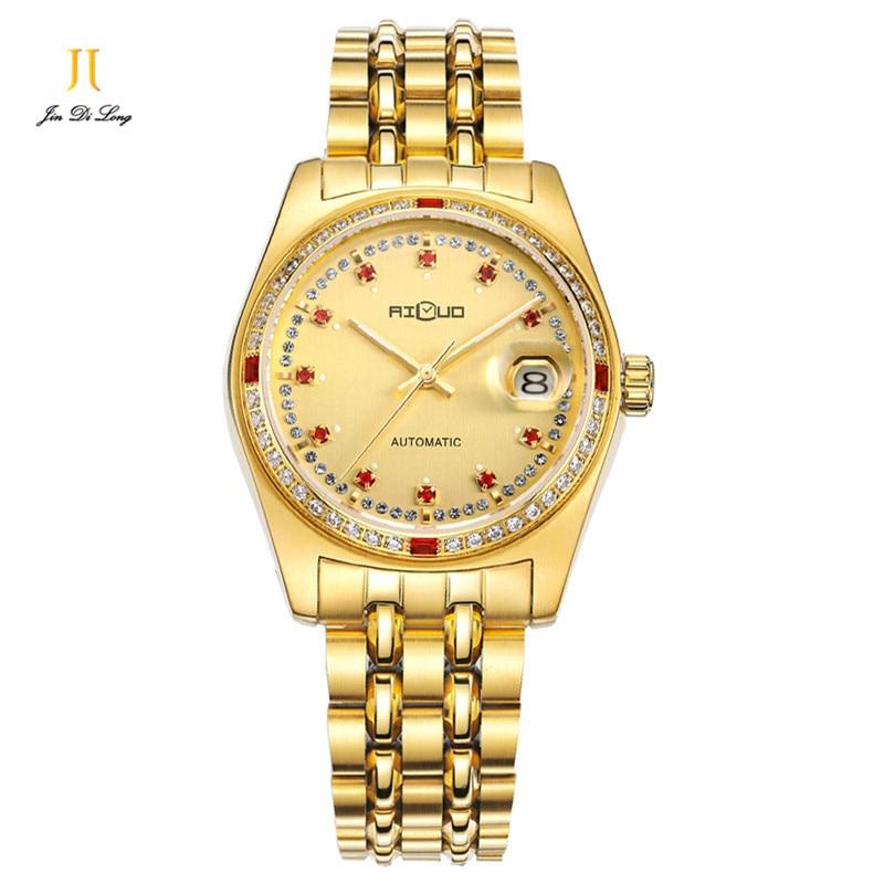 Brand Luxury Gold Watch Men Business Causal Automatic Watches Sapphire Ruby Diamond Calendar Wristwatch Relogio