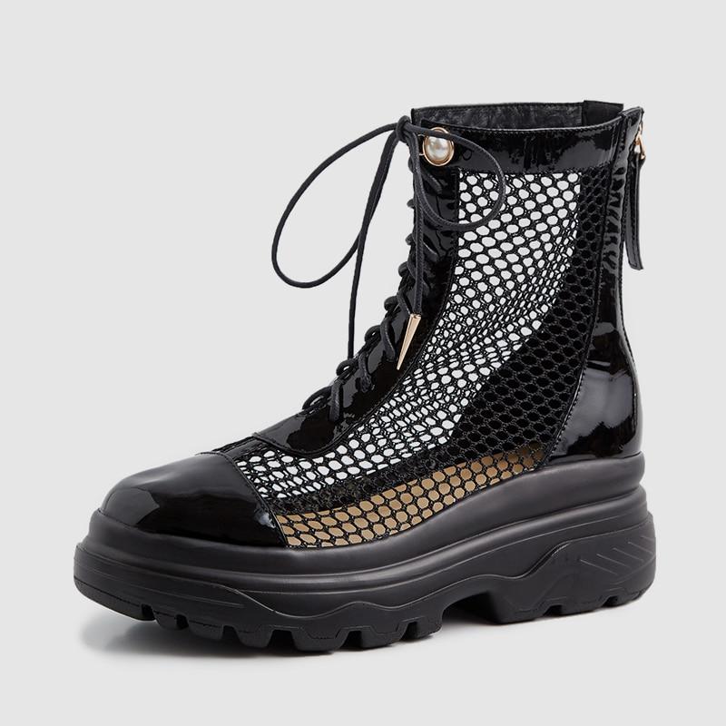 Ayakk.'ten Ayak Bileği Çizmeler'de DoraTasia Lüks Kadın Yaz Örgü Çizme Sandalet 2019 Yeni Hakiki Deri Yaz Takozlar Baba platform ayakkabılar Kadın Büyük Boy 33  42'da  Grup 3