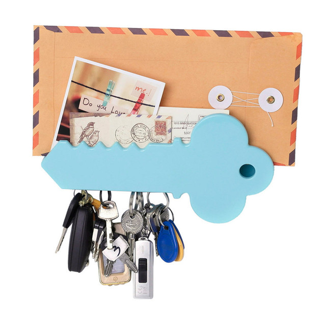 Magnetic Key Stand Box Organizer Key Shape Decorative Storage Home Decoration+2xDouble-sided Tape D#3