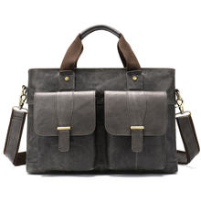 купить HOT 2019 Vintage Men's Cow Genuine Leather Briefcase Crazy Horse Leather Messenger Bag Male Laptop Bag Men Business Travel Bag по цене 3702.06 рублей