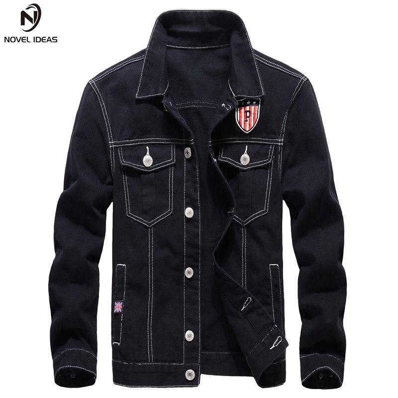 Casual 100% Cotton Wash Black Denim Jacket Men Slim Fit Turn-down Collar Long Sleeve Bomber Jeans Jackets for Men Coats