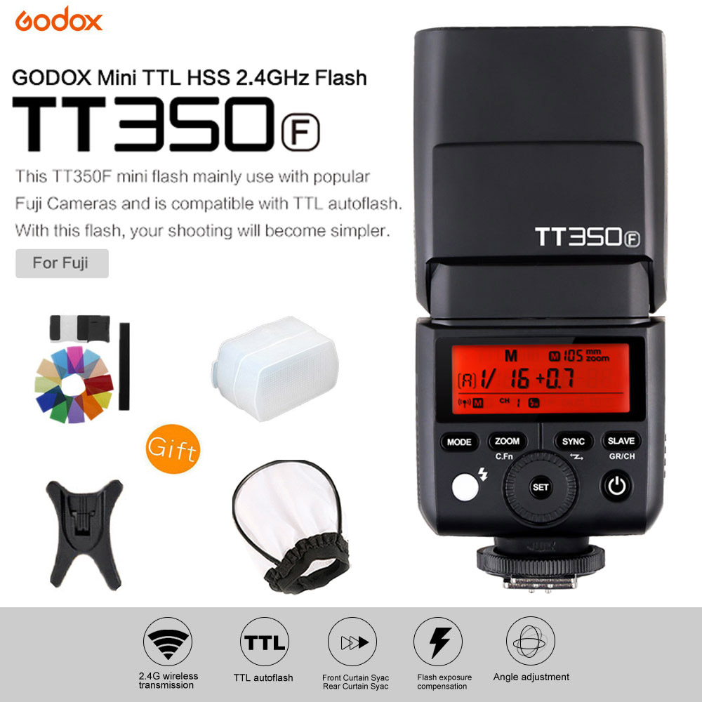 Godox Mini Speedlite TT350F TTL 2.4G Wireless High Speed Sync 1/8000s GN36 Camera Flash Light for Fuji Fujifilm Digital Camera godox flash tt350f fuji ttl hss 2 4ghz 1 8000 s gn36 mini speedlite flash for fujifilm dslr camera free shipping
