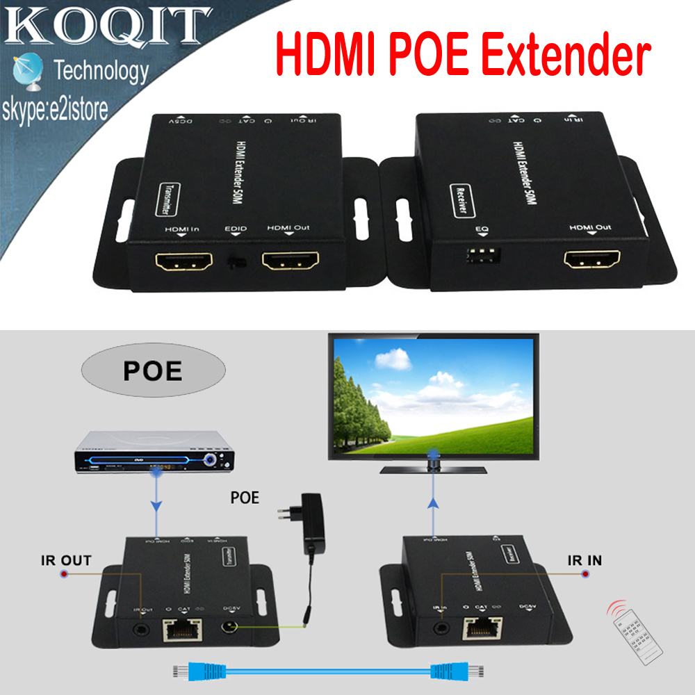 Ultra Slim HDMI  Extender 1080p 50m/164ft Over Single Cat5e/6 UTP Cable With IR Repeater Transmitter + Receiver Adapter HDV-E50C hsv379 hdmi extender over coaxial cable with no latency time and video lossless hdmi coax transmitter and receiver by rg59 6u