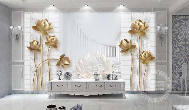 Custom 3d Photo Wall Mural Golden Lotus Swan Wallpaper For Walls 3 D Photo Mural Wallpaper For Living Room