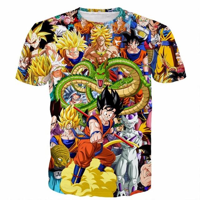 SOSHIRL Dragon Ball Super Characters Heroes Goku 3D T- Shirt Cool Fashion Hipster Men's Top Tee Summer Full Print T Shirts