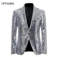 YFFUSHI Fashion Men Suit Jacket Solid Sliver Sequins Jacket Masculino Party Stage Perform Dress Latest Design