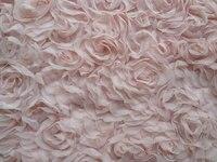 Light Pink 3D Rosette Chiffon Fabric Tissu Shabby Wedding Bridal Fabric by the yard