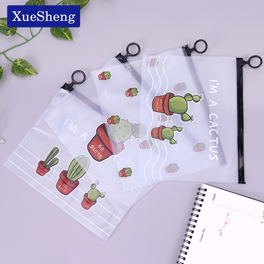 Transparent Waterproof Cactus Pencil Bags PVC A5 File Folder Document Filing Bag Stationery Bag For Kids Office Supplies