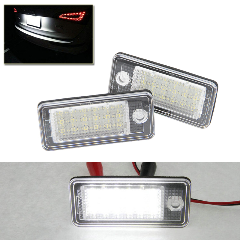 Qook Xenon White Error Free Led Number License Plate Lights Lamp For Audi A3 A4 A5 A6 S6 A8 Q7 Car Styling Auto Car Light Source one pair 12v 18 leds number car license plate lights white lamp error free car exterior light for bmw x5 e53 x3 e83 me3l