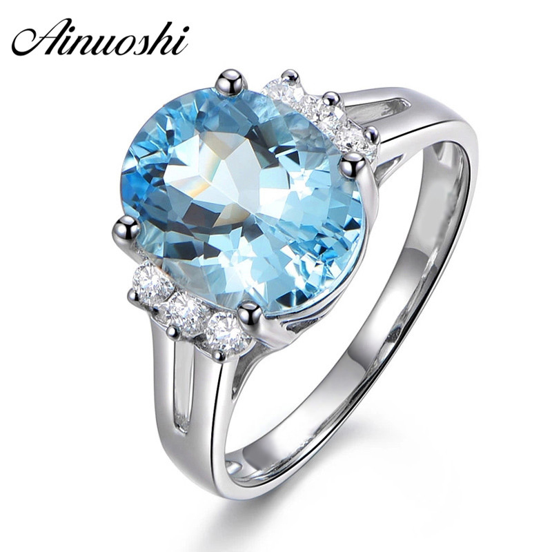 AINUOSHI 4 Carat Oval Cut Topza Crown Ring Pure 925 Sterling Silver Natural Sky Blue Topaz