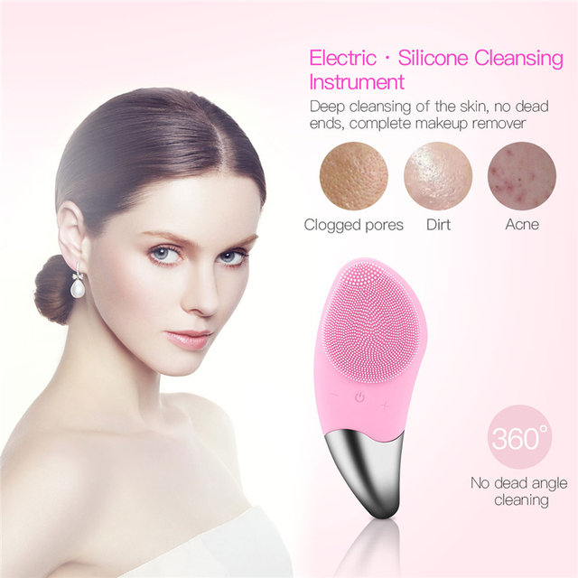 Mini Electric Facial Cleansing Brush Silicone Sonic Face Cleaner Deep Pore Cleaning Skin Massager Face Cleansing